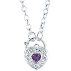 Purple CZ Stone Set Padlock Heart Pendant with 45cm Belcher Chain Necklace