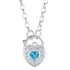 Blue CZ Stone Set Padlock Heart Pendant with 45cm Belcher Chain Necklace