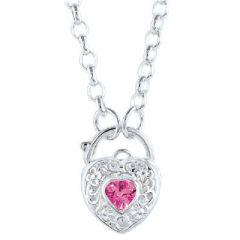 Pink CZ Stone Set Padlock Heart Pendant with 45cm Belcher Chain Necklace