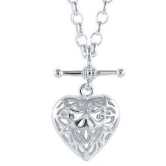 Filigree Padlock Heart Pendant with 45cm Belcher Chain Necklace | The Jewellery Shop