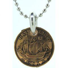 Half Penny Ship Coin Pendant