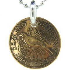 One Penny New Zealand coin pendant