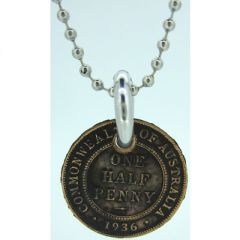 One Half Penny Coin Pendant