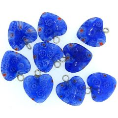 Purple Millefiori Glass Heart Pendants