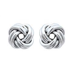 10mm Oxidised Sterling Silver Italian Double Knot Earrings | The Jewellery Shop