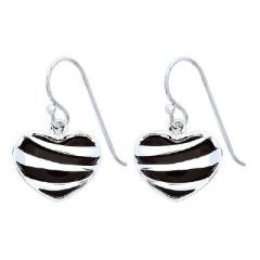 Black Onyx Heart Earrings