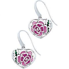 Pink Plique à Jour Enamel Heart Earrings