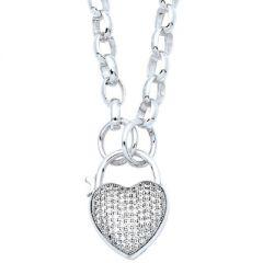 Pave Heart Padlock Necklace
