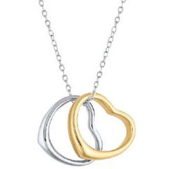 Sterling Silver and Gold Plated Double Heart Necklace