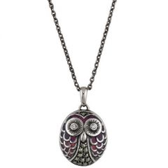Marcasite and Enamel Owl Necklace