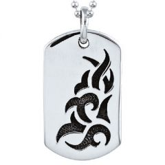 Oxidised sterling silver tatoo design dog tag