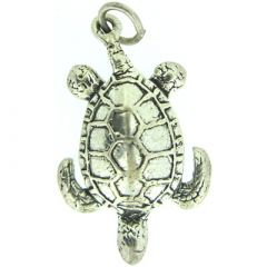 Sterling Silver Baby Turtle Pendant - Front