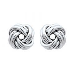 10mm Oxidised Sterling Silver Italian Double Knot Earrings | The Jewellery Shop