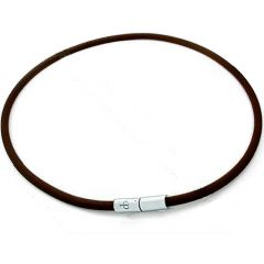 Custom length black solid leather necklace