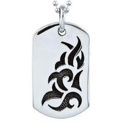 Oxidised sterling silver tatoo design dog tag